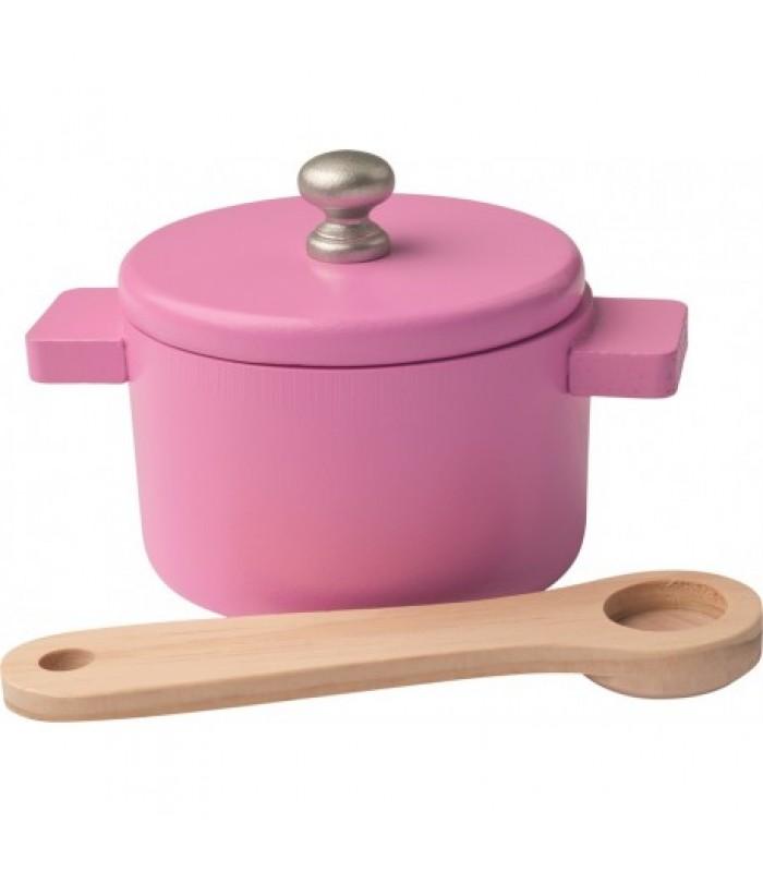 """Rožinė medinė virtuvėlė - """"Pelytė"""""""
