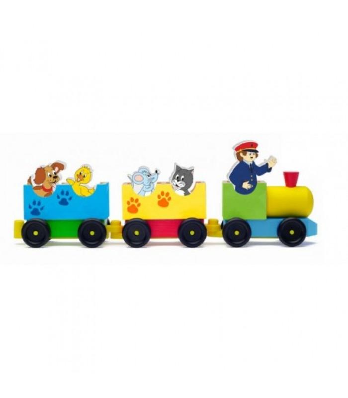 Medinis traukinukas su gyvūnais