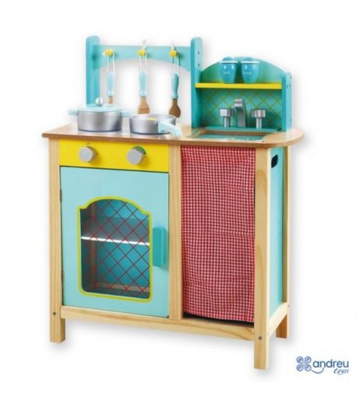 Mėlyna medinė virtuvėlė