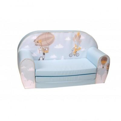"""Žydra vaikiška sofa - """"Skraidantys gyvūnai"""""""