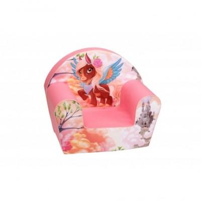 """Rožinis vaikiškas foteliukas - """"Puošnus arkliukas"""""""