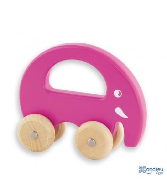 Medinis rožinis drambliukas su ratukais 18mėn+