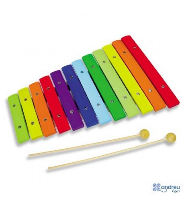 Spalvotas medinis ksilofonas