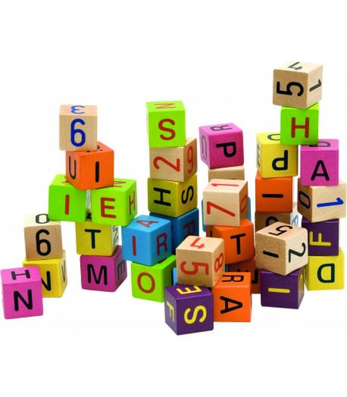 Medinės kaladėlės su raidelėmis ir skaičiais 40vnt