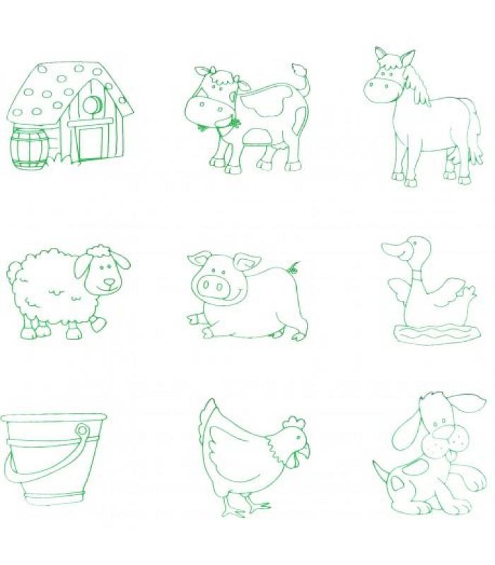 """Medinė puzlė su rankenėlėmis + štampukai """"Fermos gyvūnai"""""""