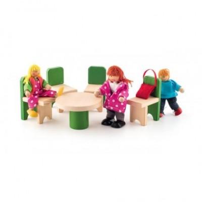 Lėlių namo baldų komplektas - virtuvė ir valgomojo komplektas
