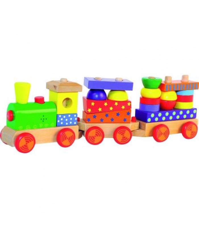 Medinis traukinukas iš kaladėlių, su garsais 2+