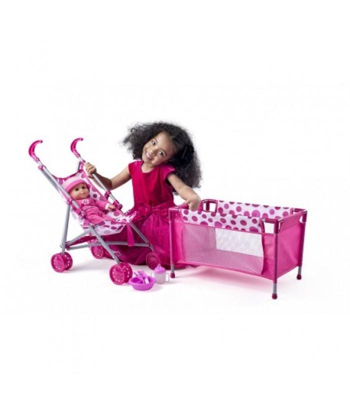 Vaikiškas lėlės vėžimėlis su lėlyte ir maniežu