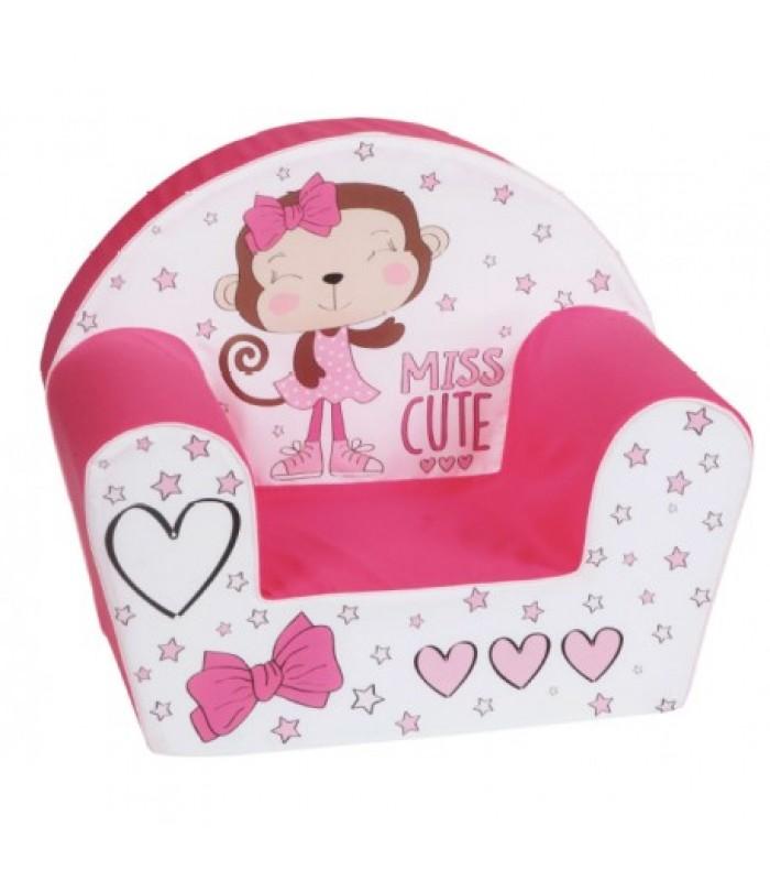 """Rožinis foteliukas vaikams """"Miss cute"""""""