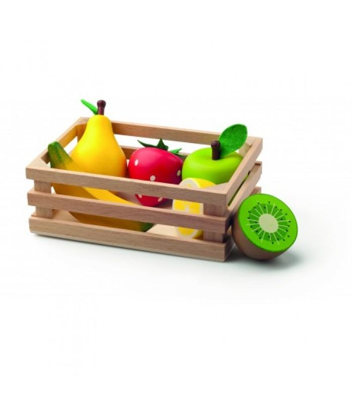 Medinė dėžutė su vaisiais