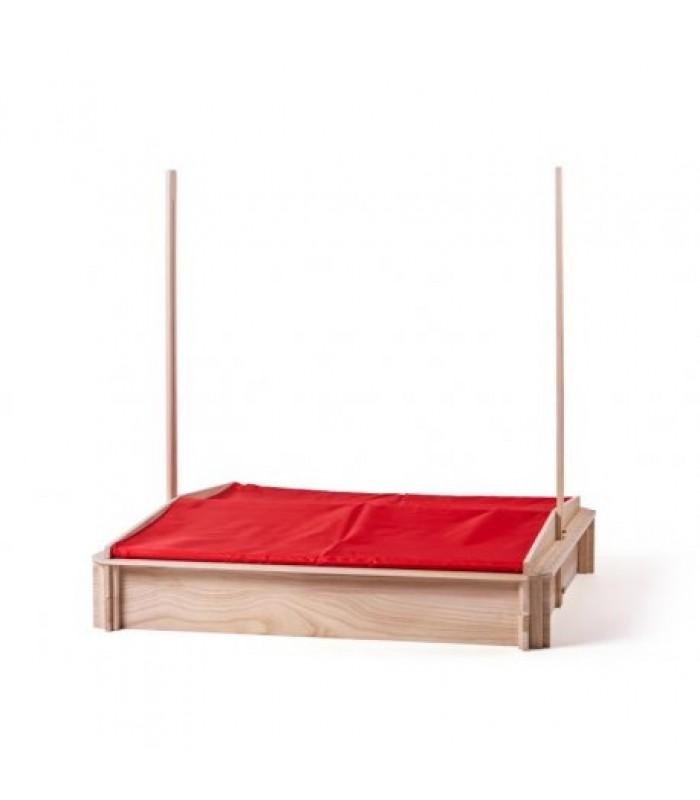 Smėlio dėžė su raudonu stogeliu ir virtuvėle