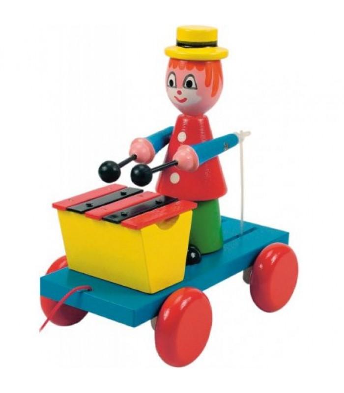 Traukiamas žaisliukas - klounas su ksilofonu