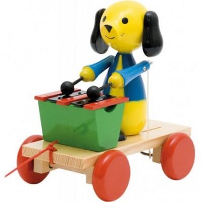 Traukiamas žaisliukas - šuniukas su ksilafonu