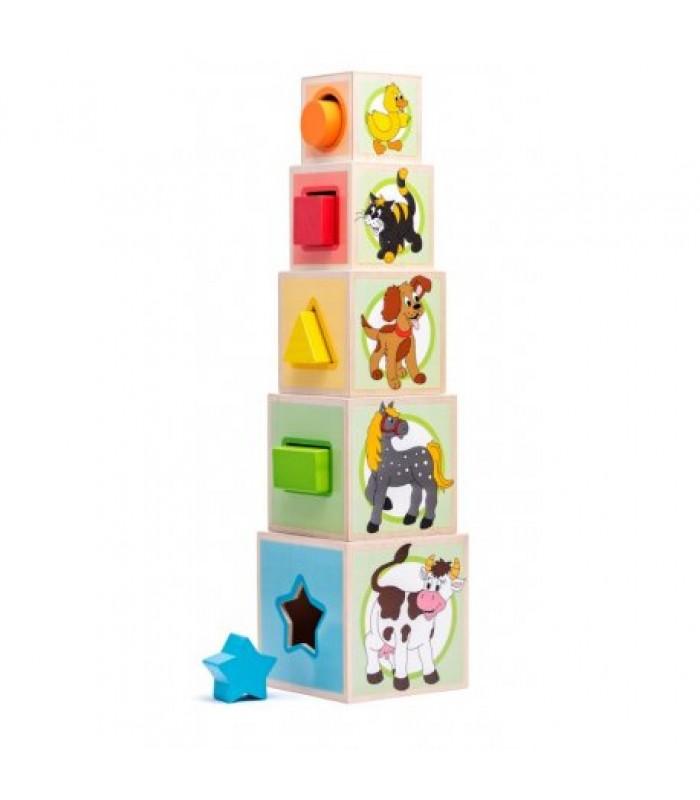 """Kubelių bokštas su kaladėlėmis - """"Animals"""""""