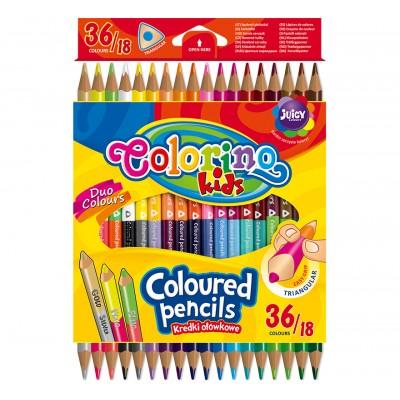 COLORINO CREATIVE Triangular coloured pencils 18 pcs/36 colours, 68512PTR