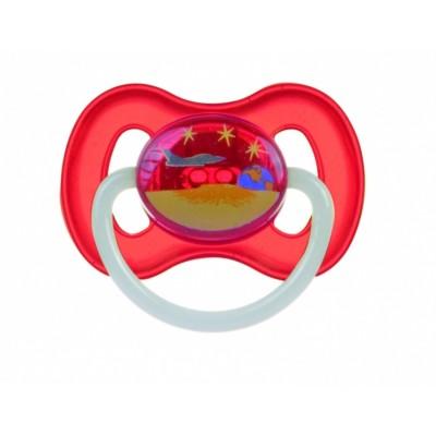 CANPOL BABIES čiulptukas lateksinis apvalus Kosmo 6-18m 23/222 red