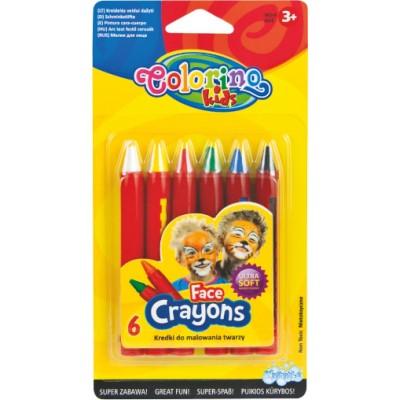 COLORINO KIDS veido puošybos kreidelės, 6 spalvos, 32629PTR