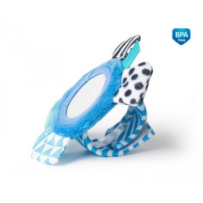 CANPOL BABIES minkštas žaislas su veidrodėliu ant riešo Zig Zag Blue 68/056_blu