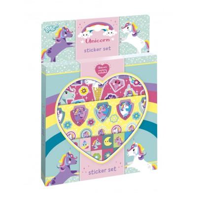 TOTUM lipdukų rinkinys Unicorn Sticker Set, 3 lipdukų lapai ir kartono dekoracija, 071384