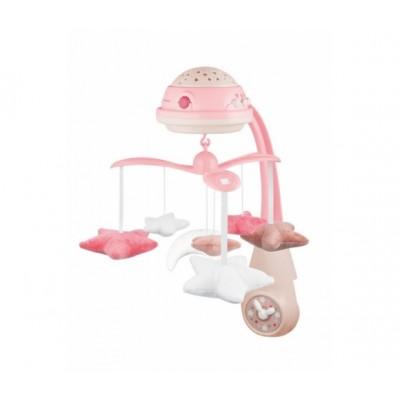 CANPOL BABIES 3in1 muzikinė karuselė su projektoriumi ir pliušinias žaislais, rožinė 75/100_pin