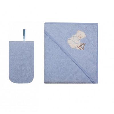 WOMAR rankšluostis ir maudymo pirštinė 80x80 cm Light Blue