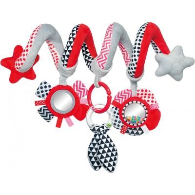 CANPOL BABIES interaktyvus lovelės/ vežimėlio žaislas spiralė Zig Zag, 68/063_red