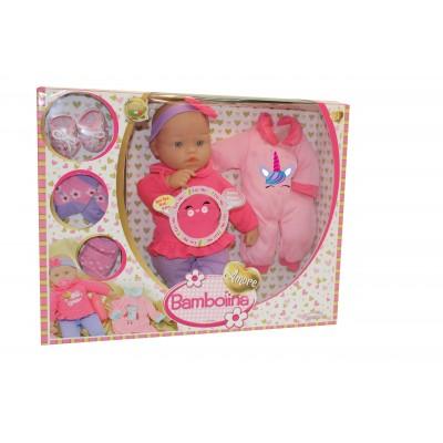 BAMBOLINA lėlė su melodijomis arba kūdikio garsais Amore, 36cm su priedais, BD1833