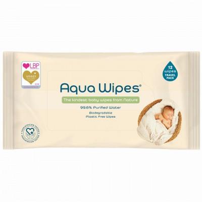 AQUA WIPES drėgnos servetėlės 12 vnt. AQW12F12P