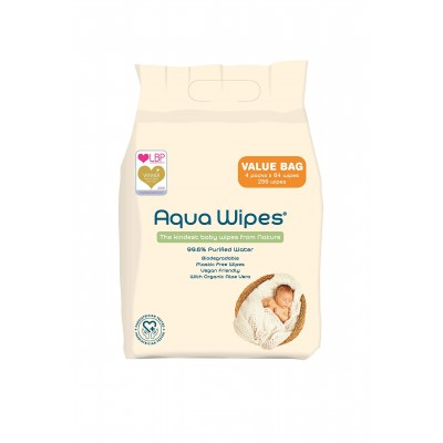 AQUA WIPES drėgnos servetėlės 4x64 vnt. AQW64F4B