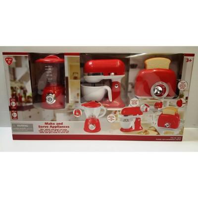 PLAYGO virtuviniai prietaisai (virdulys, mikseris ir tosteris) raudonos spalvos, 38216