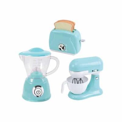 PLAYGO virtuviniai prietaisai (kavos aparatas, plakiklis ir skrudintuvė) mėlynos spalvos, 38226