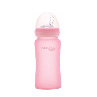 EVERYDAY BABY stiklinis buteliukas su šiaudeliu 240ml 6m+ Rose Pink 10384