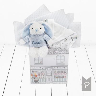 BABYBLOOMS chalato ir minkšto žaislo rinkinys Little Love Blue