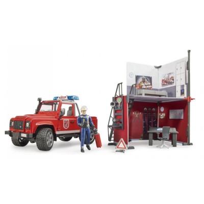 BRUDER gaisrinė stotis su Land Rover Defender ir ugniagesiu, 62701