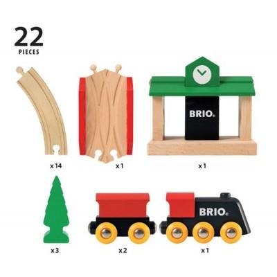 BRIO traukinių rinkinys medinis, 8 dalys, 33028