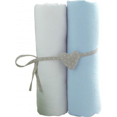 BABYCALIN paklodžių rinkinys su guma, šviesiai mėlyna 2vnt 60x120 cm, BBC413715