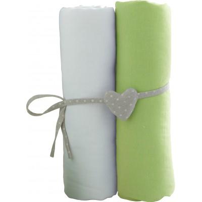 BABYCALIN paklodžių rinkinys su guma, šviesiai žalia 2vnt 60x120 cm, BBC413712