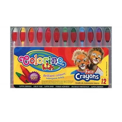 COLORINO KIDS veido puošybos kreidelės, 12 spalvų, 32650PTR