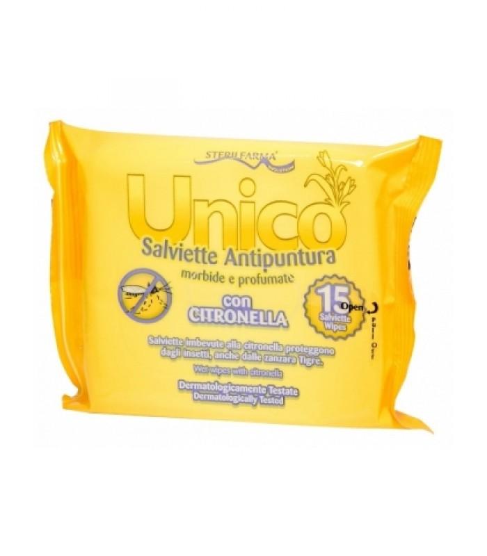UNICO drėgnos servetėlės nuo vabzdžių įkandimų, 15 vnt.